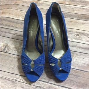Jessica Simpson Blue Jamela Peep Toe Heels